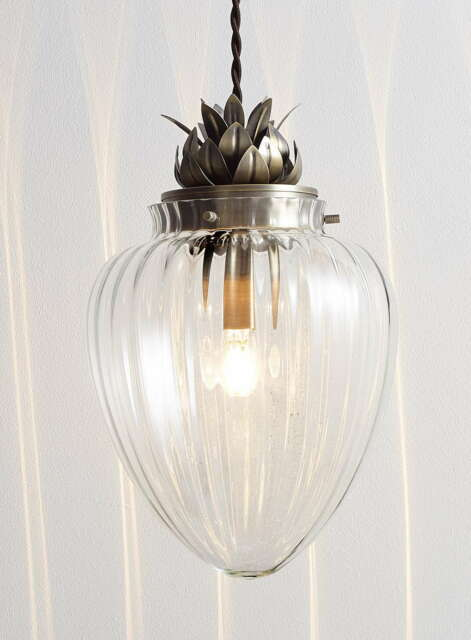 Modern glass antique brass pineapple ceiling pendant light fitting modern glass antique brass pineapple ceiling pendant light fitting bhs janna aloadofball Image collections