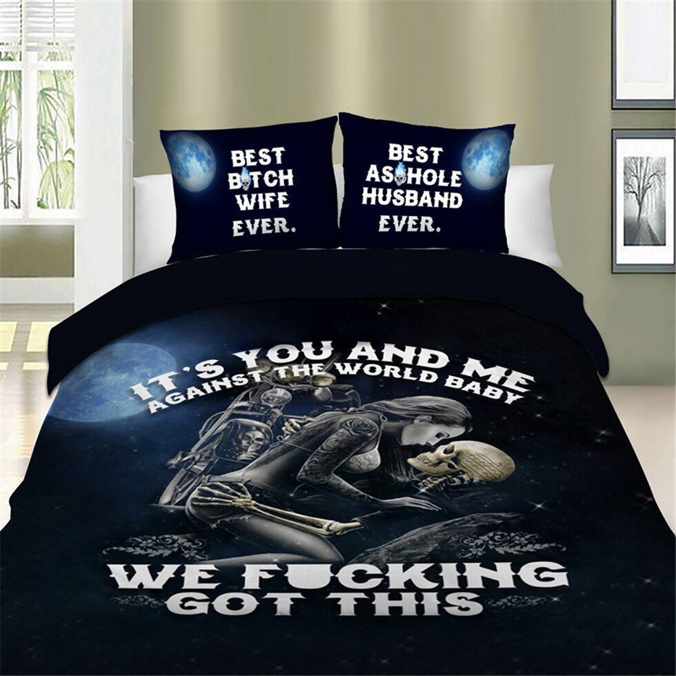 Powerful Skull Bedding Set Quilt Duvet Cover Full Queen King Twin Pillowcase New