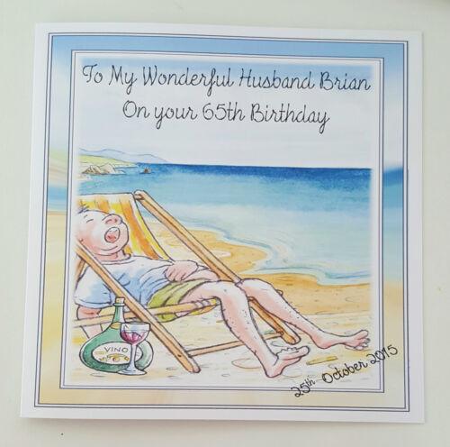 Large Personalised Husband 65th Birthday Card Dad Grandad Beach 40th 50th 60th