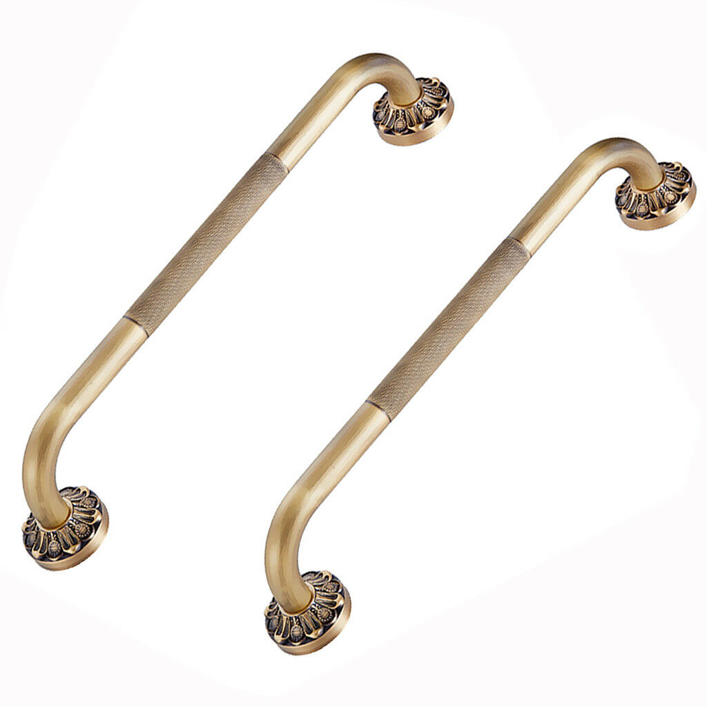 2 Piece Brass Safety Grab Bar Bathroom Support Handle Handrail Disability