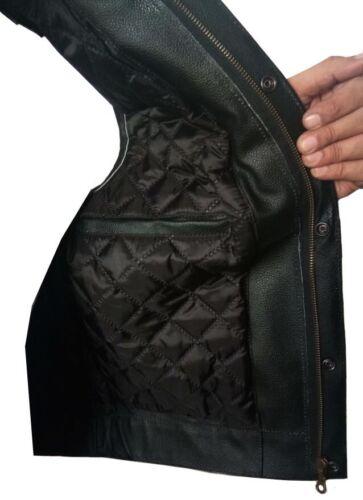 Mens Son Of Anarchy Black Real Genuine Leather Motorcycle Biker Waistcoat//Vest