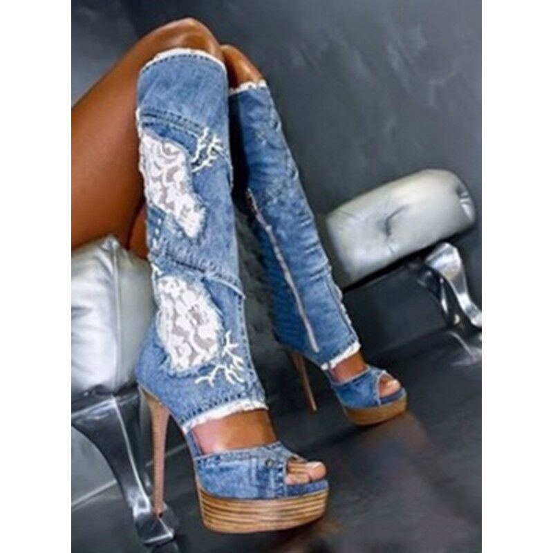 Women Gladiator Peep Toe Lace Platform High Heels Denim Jean Knee High Zip Boots