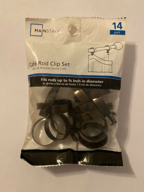 Set Of 14 Cafe Curtain Rod Clip Rings