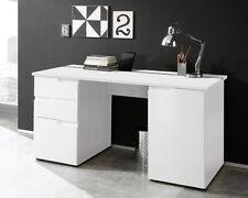Computertisch 98 X 87 X 38 Cm Mdf Hochglanz Weiß Rial Schreibtisch Bürotisch