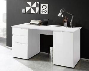 schreibtisch computertisch arbeitstisch b ro homeoffice weiss hochglanz neu ebay. Black Bedroom Furniture Sets. Home Design Ideas