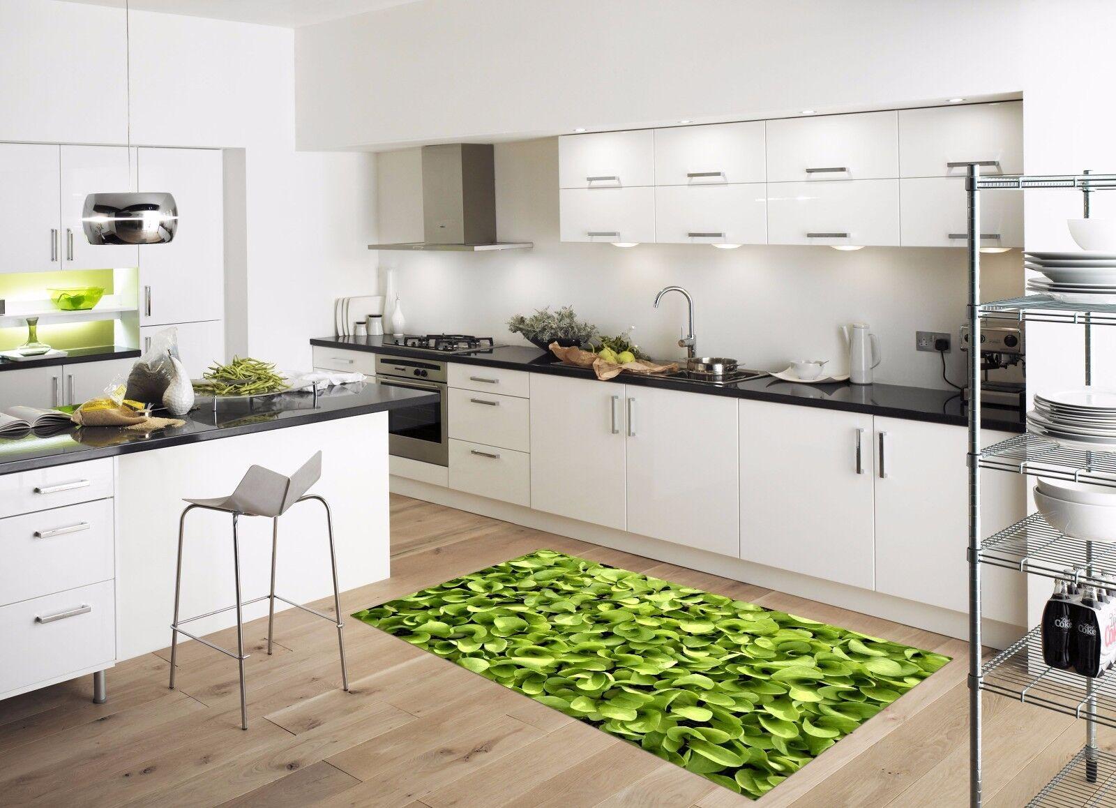 3D Green Leaves 8 Kitchen Mat Floor Murals Wall Print Wall AJ WALLPAPER AU Carly