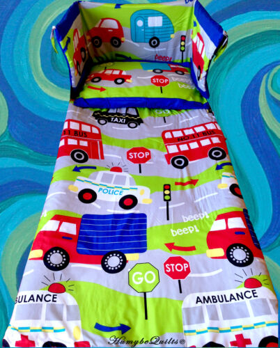 Boys Cars Transport Traffic BLUE LIME COT BEDDING SET all sizes available