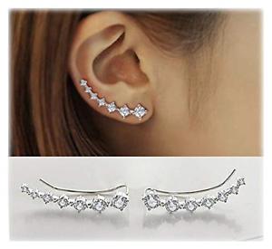 Crystals-Ear-Cuffs-Hoop-Climber-S925-Sterling-Silver-Earrings-Hypoallergenic