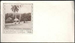 1935-Official-First-Day-Cover-NATIVE-VILLAGE-SAMOA-Pictorial-Stamp-Western-Samoa