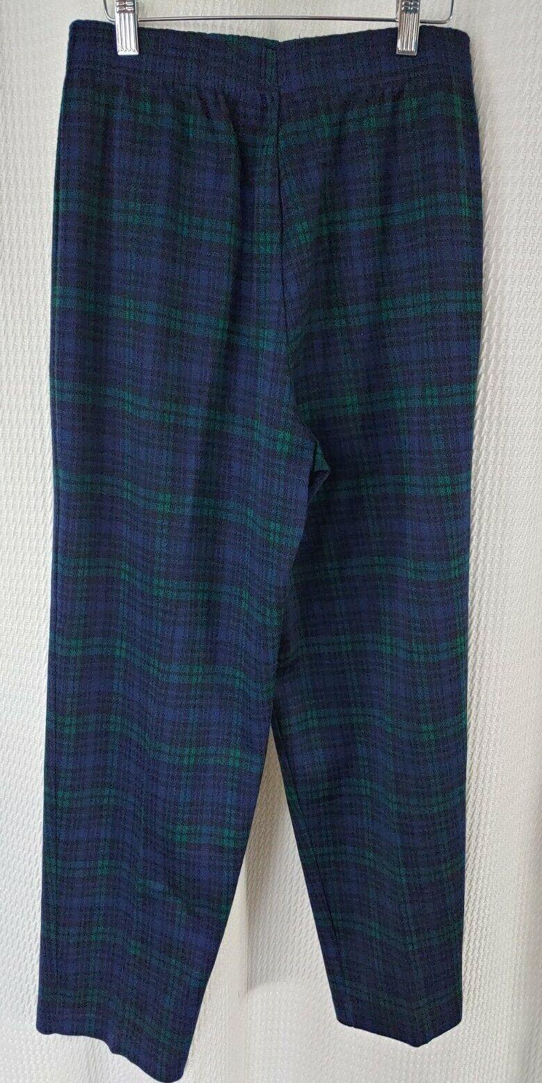 Vintage Navy & Green Plaid Knit Pants - image 4