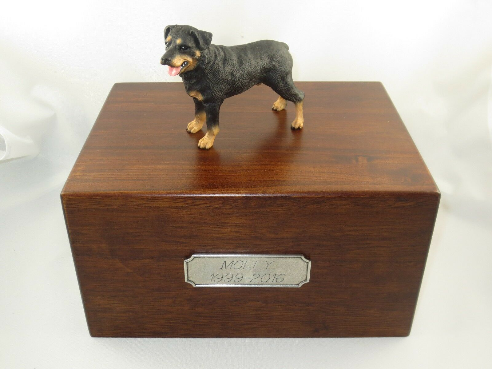 Beautiful Paulownia Wooden Personalized Urn With redtweiler Figurine