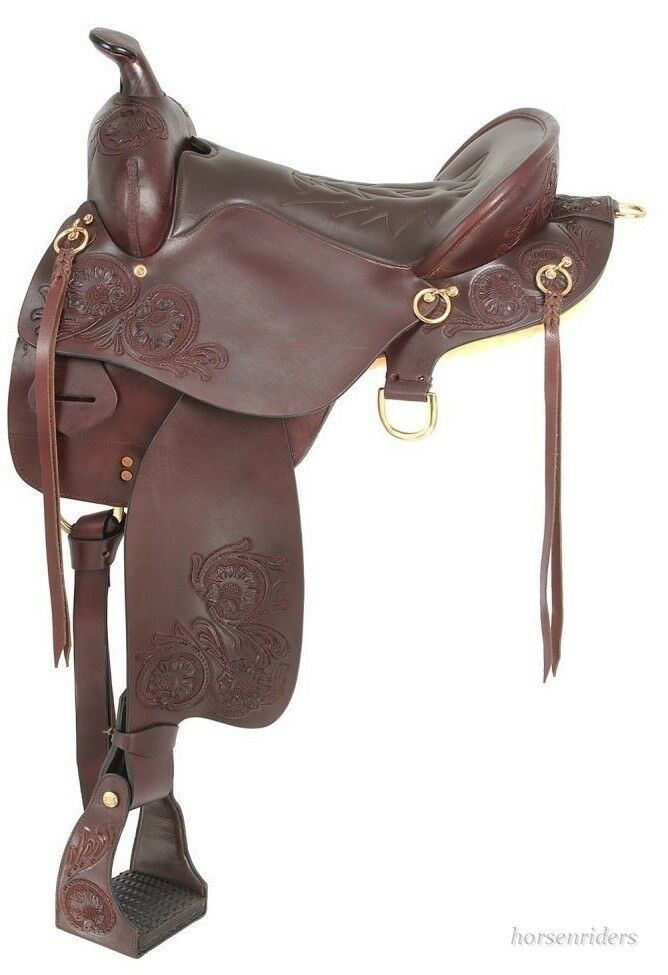 Western Endurance Style Saddle with Horn - Dark Oil Leather - 15.5 ,16.5 ,17.5