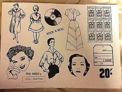 Vintage 1950's. Set Of Unmounted Rubber Stamps.