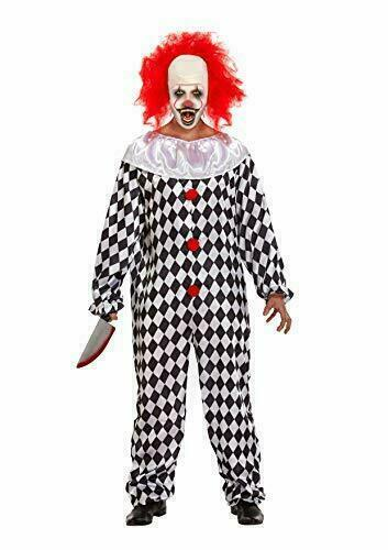 Scary Clown With Wig Costume - Fancy Dress Giant Face Halloween Party Costume