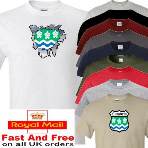 Cumbria Cumberland camiseta en rasgada o microbios Diseño todos los condados disponible