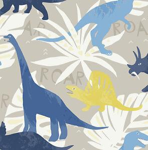 KinderTapete-Designtapete-Dinosaurier-Dschungel-Hellgrau-Senf-Denim-Blau