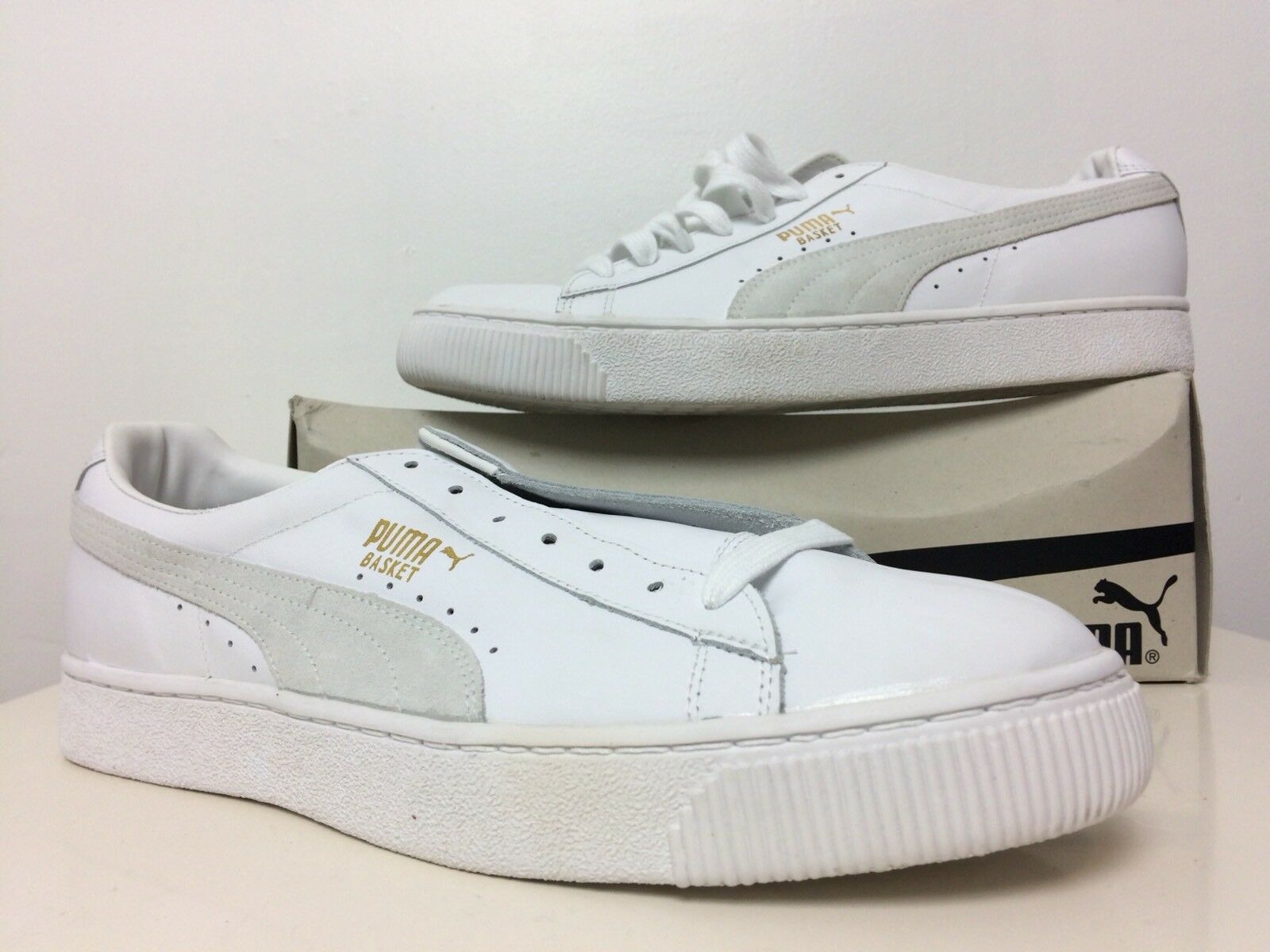 New In Box PUMA Men's Basket Classic Low Top White & Natural Sneakers Size US 13