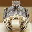 Luxurious-Shiny-925-Silver-White-Sapphire-Bridal-Engagement-Jewelry-Ring-Set thumbnail 3