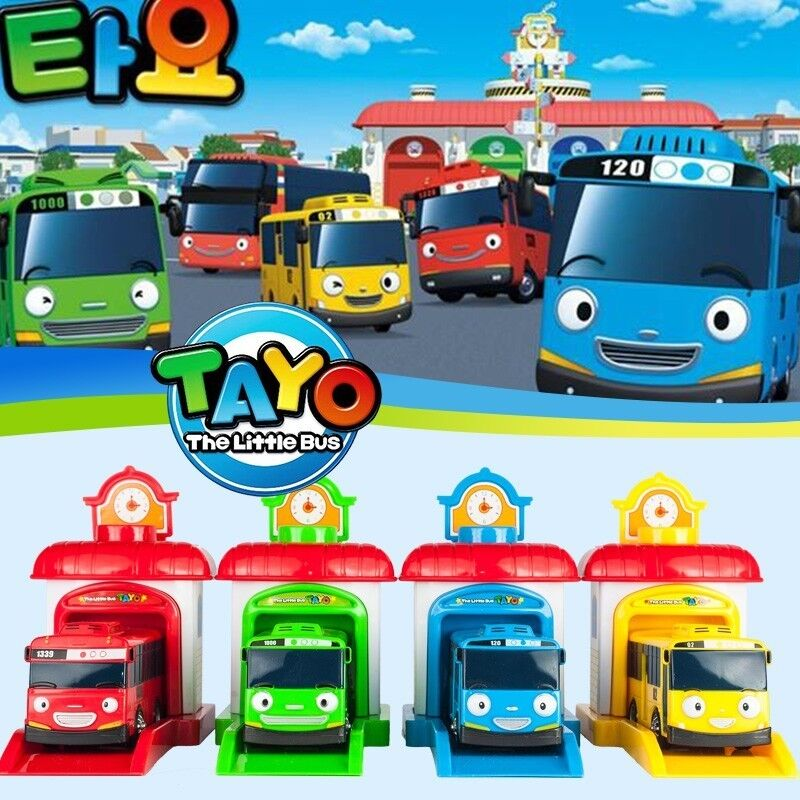 Tayo Bus Little Toy Car Play Model Boys Kids Garage Toys 4pcs set Gift