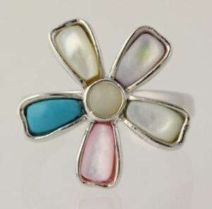 NEW-Flower-Ring-Sterling-Silver-Mother-of-Pearl-Turquoise-Size-6-Floral-925