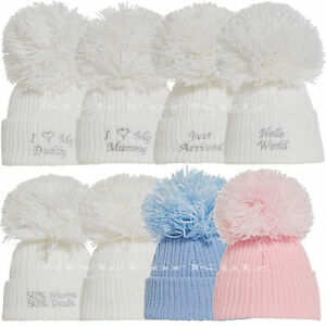 BABY BOYS GIRLS KNITTED POMPOM HATS WHITE SILVER BLUE PINK POMPOM ... aac9726ffc1