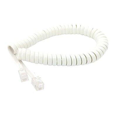 7ft Modular Coiled Telephone Handset Phone Cord WHITE 7/' 7 Foot 7 Feet