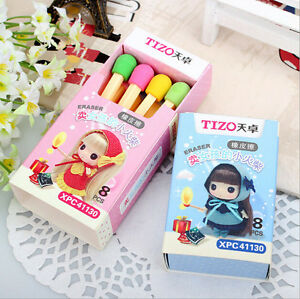 Funny-Cute-Match-Rubber-Pencil-Eraser-Set-Stationery-Elegant-Party-Gi-NTAT