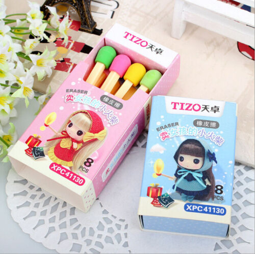 8 pcs Novelty Lovely Match Shape Pencil Eraser School Office Stationery Kid
