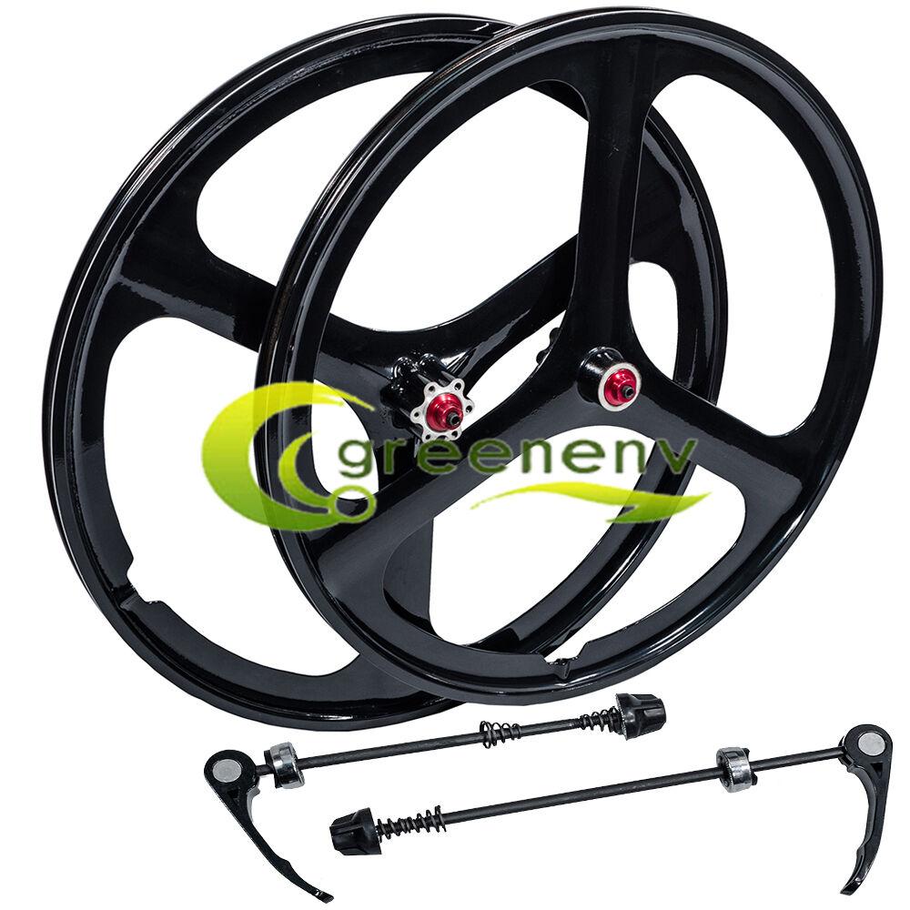 NEW Fit 26  MTB Bike Magnesium Wheels 3-Spoke Set Rim Wheelset 6 7 8 9 10 Gears