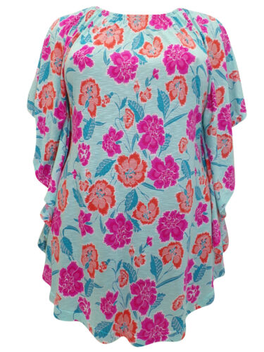 Plus Size Side Frill Viscose Jersey Tunic Top by Ivans Size 26-32