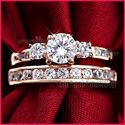 18K ROSE GOLD GF 1CT TRILOGY SIGNITY DIAMOND SOLID ENGAGEMENT WEDDING RINGS SET