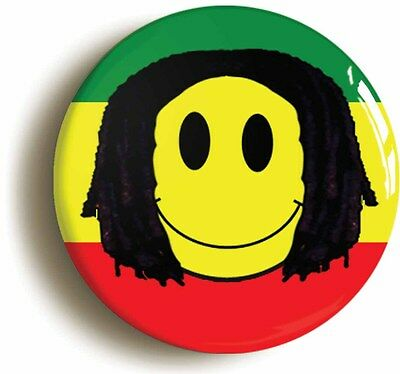REGGAE SMILEY RASTAFARIAN BADGE BUTTON PIN (Size is 1inch/25mm diameter)
