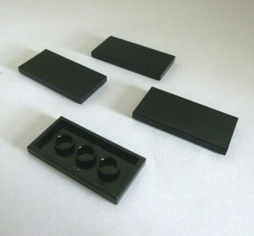 4  LEGO® 87079 Systemstein.Fliese,Platte,Abdeckplatte 2x4 flach schwarz Neuware.
