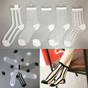 New-Women-Girls-Ultrathin-Crystal-Lace-Socks-Transparent-Elastic-Spotted-Striped