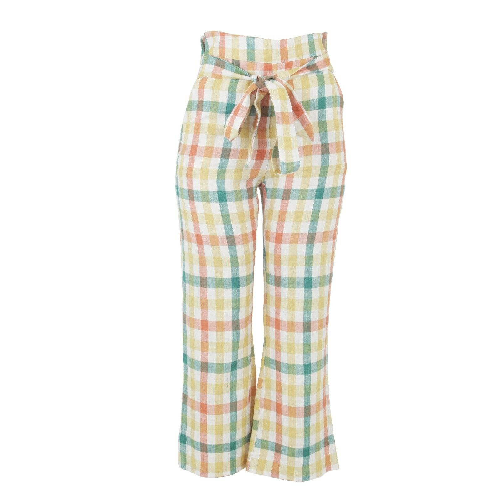 Donni made in L.A flora  high waist linen cotton pants with tie size small