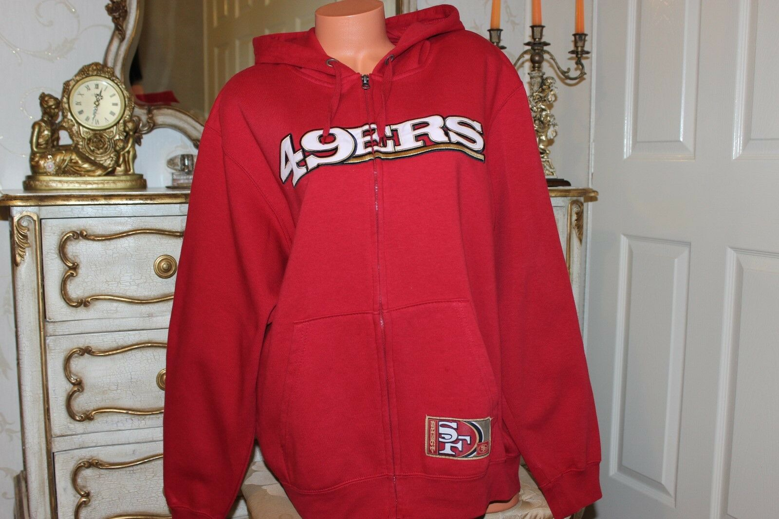 (Ref 9) 49ERS  Herren Cotton Mix ROT Jumper Hoodie Größe Large Chest 50