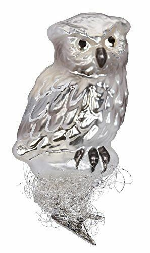 Inge Glas Bird Clip-On Silver-Owl 1-293-15 German Blown Glass Christmas Ornament