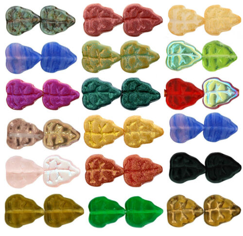 25 Czech Glass Leaf Beads 10mm  Opaque Shimmer  Suede  /& Polychrome Colors