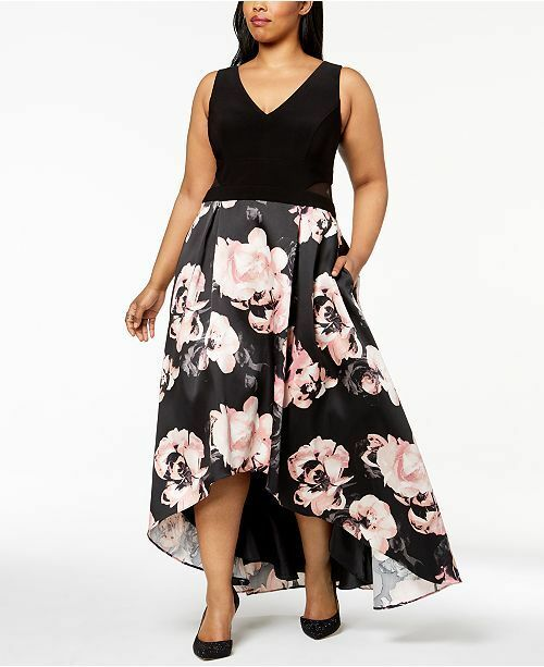 2f1a0404b52f Xscape Women's Black Pink Floral Print High-low Halter Gown Dress Size 14  for sale online | eBay