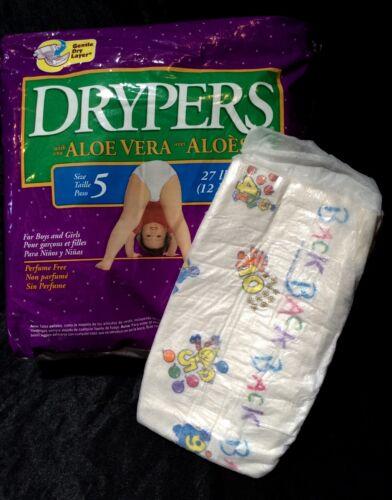 Vintage Drypers Diapers w// Aloe Sz 5 27 lbs+
