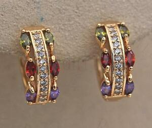 18K-Gold-Filled-Earrings-Zircon-Amethys-Perido-Ruby-Symmetry-Topaz-Ear-Hoop-Lady