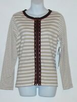 Onque Casuals Ladies Long Sleeve Front Zip Stripe Top Beige & White Small (s)