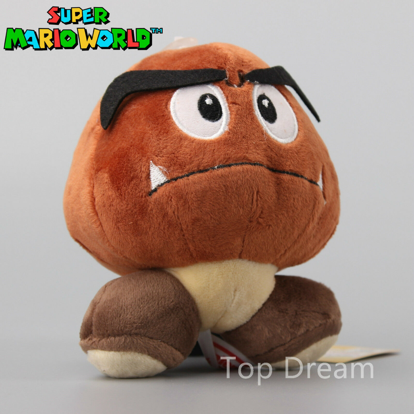 Super Mario Bro Brown Goomba Plush Doll Standing Soft Mushroom
