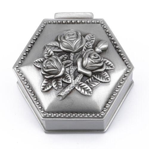 Women Vintage Rose Pattern Jewelry Box Ring Storage Box Decor Case