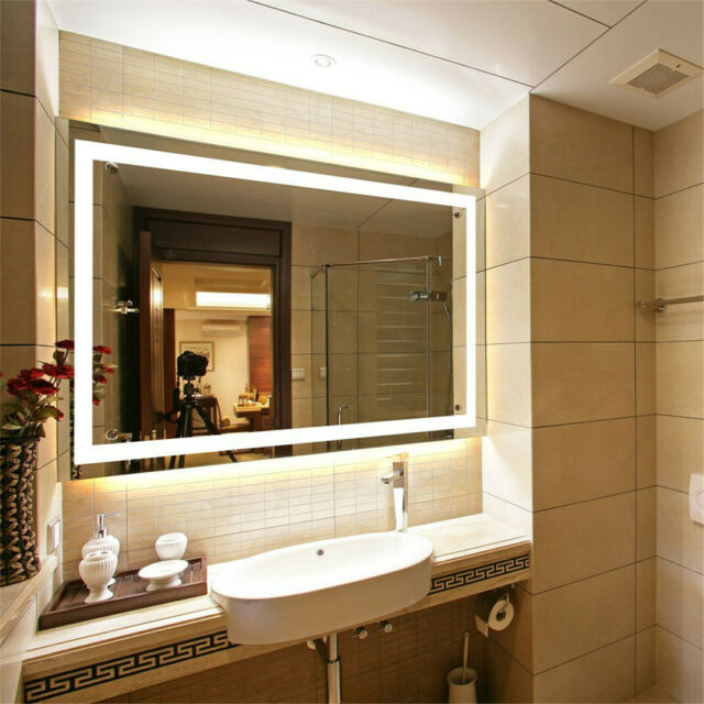 Groovy Led Light Bathroom Wall Mount Mirror Anti Fog Memory Touch Button Vanity Mirror Download Free Architecture Designs Terstmadebymaigaardcom