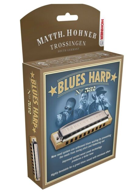 """NEW HOHNER 532/20 BLUES HARP HARMONICA """"C#"""" OR Db HARP & CASE NEW IN PACK"""