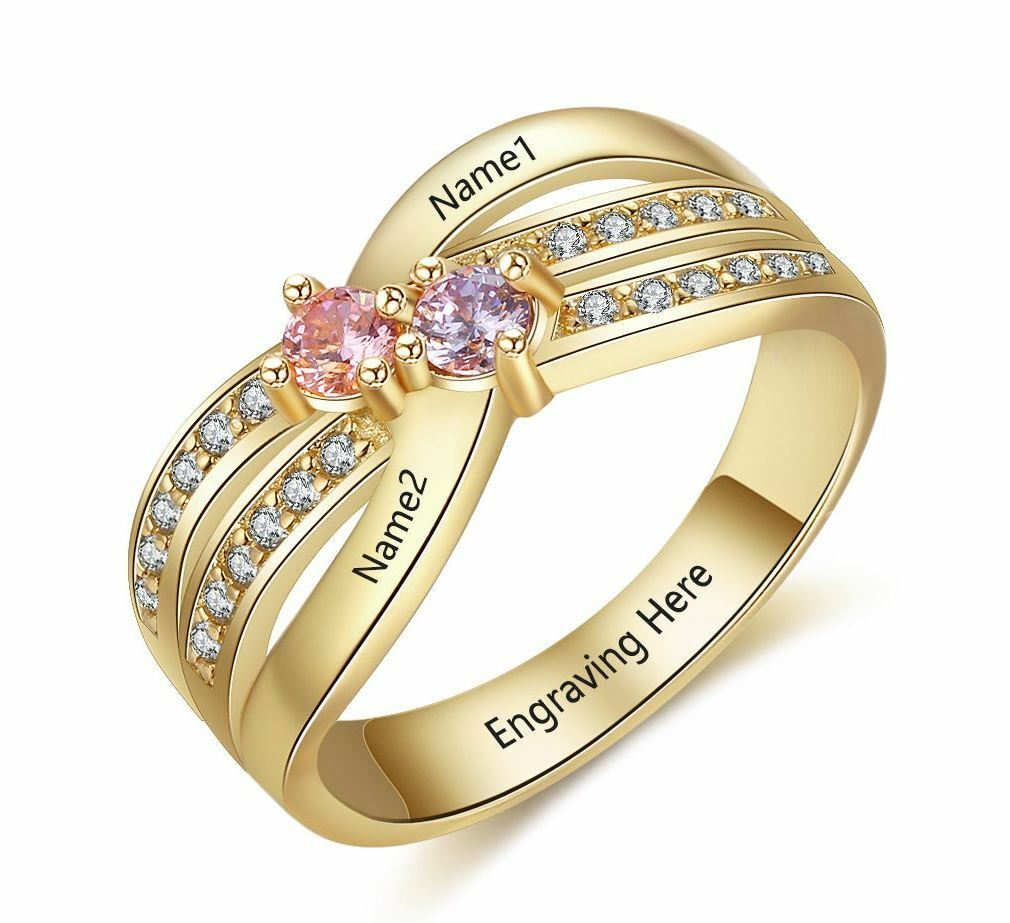 Mother's Mom  Ring Personalized 14k gold IP 2 Birthstone & 2 Name