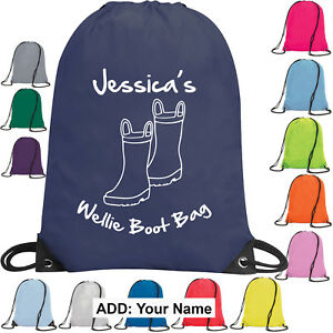 Wellie-Boot-Drawstring-Bag-Wellington-Boots-School-Kids-Children-Girl-Boy-Gift