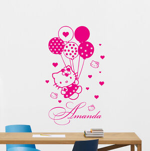 Image Is Loading Custom Name Hello Kitty Wall Decal Personalized Girl