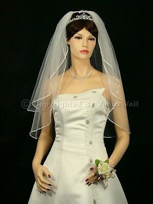 "2T Ivory Bridal Fingertip Length 1//8/"" Ribbon Edge Wedding Veil"